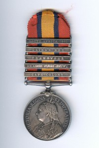 An example of The Queen's South Africa Medal with 5 bars.