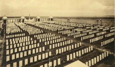 The Loos memorial and the Dud Corner Cemetery (taken between the wars)