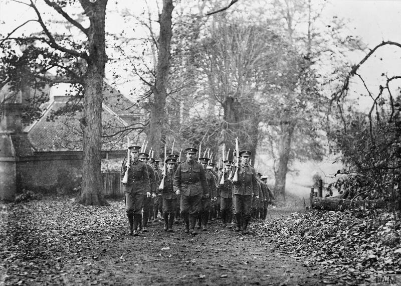 Troops of the 28th Battalion, Royal Fusiliers (Reserve Battalion Public Schools Brigade) on a march, November 1915, IWM
