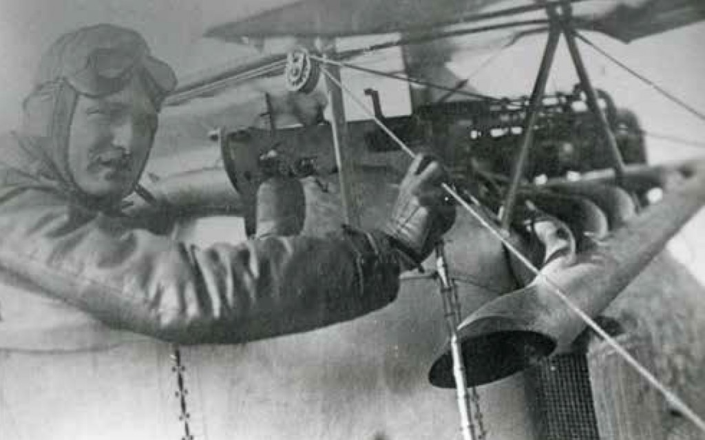 Max Ritter von Mulzer pictured in his Fokker aircraft