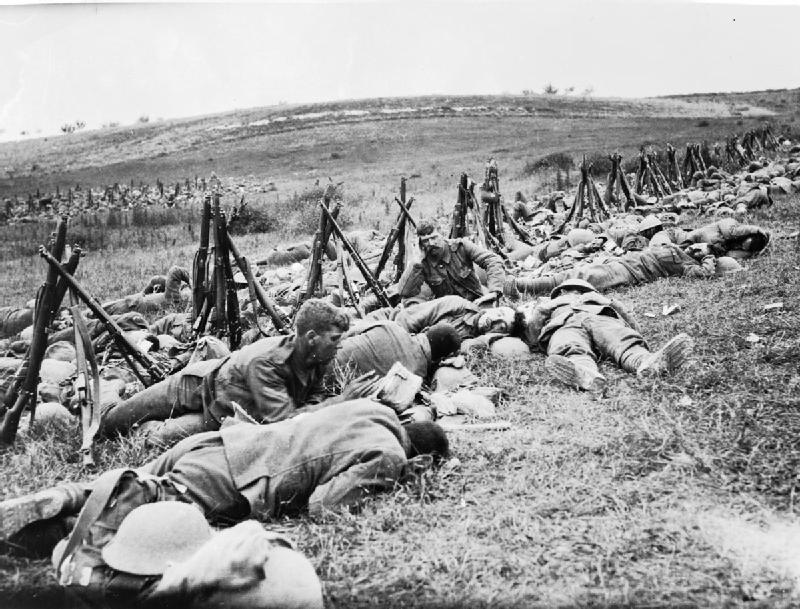 The Royal Warwickshire Regiment resting during Battle of the Somme 1916